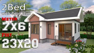 Small House Design 7x6 Meter Gable Roof 23x20 Feet