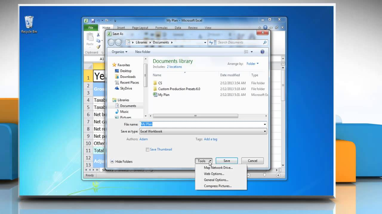 How to set a password to modify a Microsoft® Excel 2010 ...