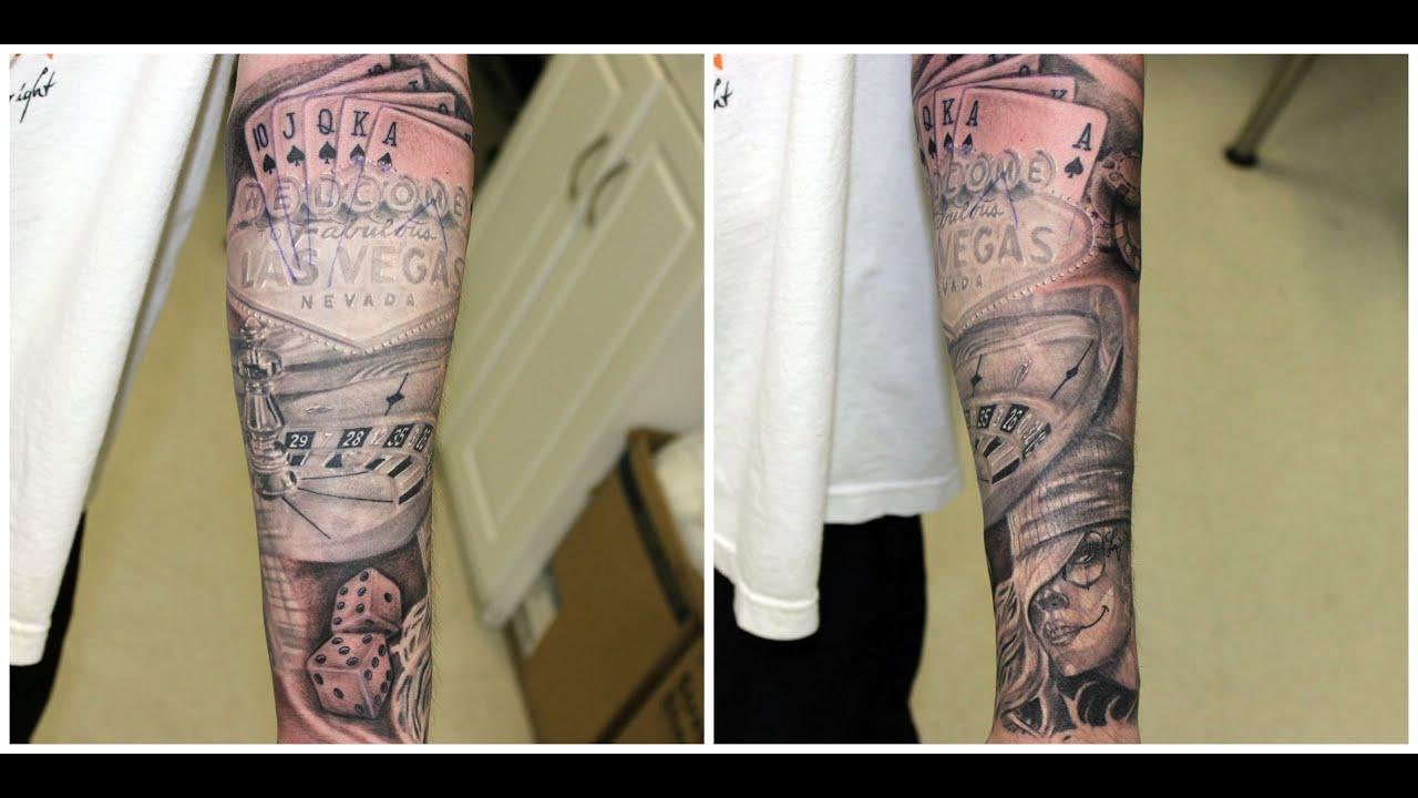 las vegas 1 2 sleeve tattoo by jesus sanchez wylde sydes tattoo youtube. Black Bedroom Furniture Sets. Home Design Ideas