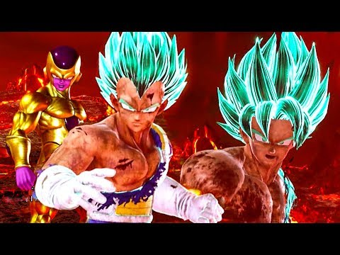 JUMP FORCE - Super Saiyan Blue Vegeta, Goku & Golden Frieza Awakenings Gameplay (2019)
