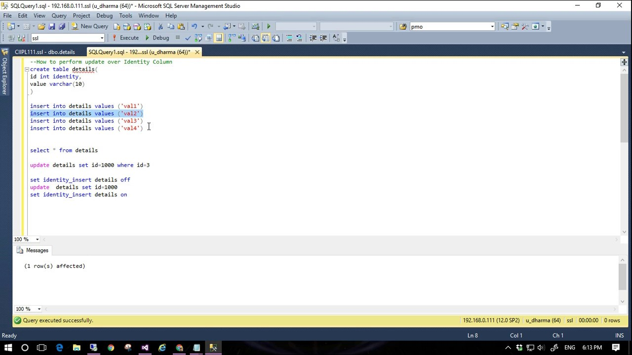 Insert missing SQL Server IDENTITY column values using SET ...