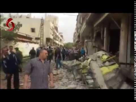 الصور الأولية للتفجير الإرهابي بسيارة مفخخة في حي الزهراء في حمص 23-05-2017