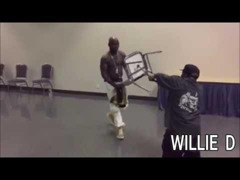 Smackdown!!! Geto Boys' Bushwick Bill & Naughty By Nature's Treach Wrestle Backstage... WWE Style!