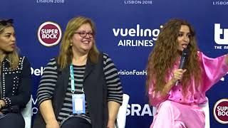 Eurovision 2018 - Eleni Foureira - Wild dance (Ukraine 2004) - Conférence de presse - 04/05/2018