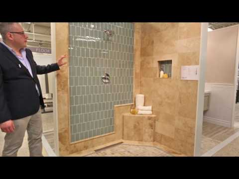 Shower Tile Ideas - Blue Glass Subway Tile - Design Your Bathroom Today