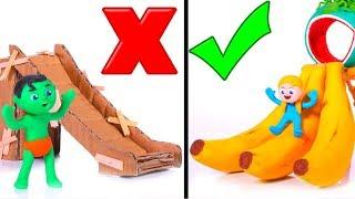 Old Cardboard Slide VS New Banana Slide ❤ Cartoons For Kids