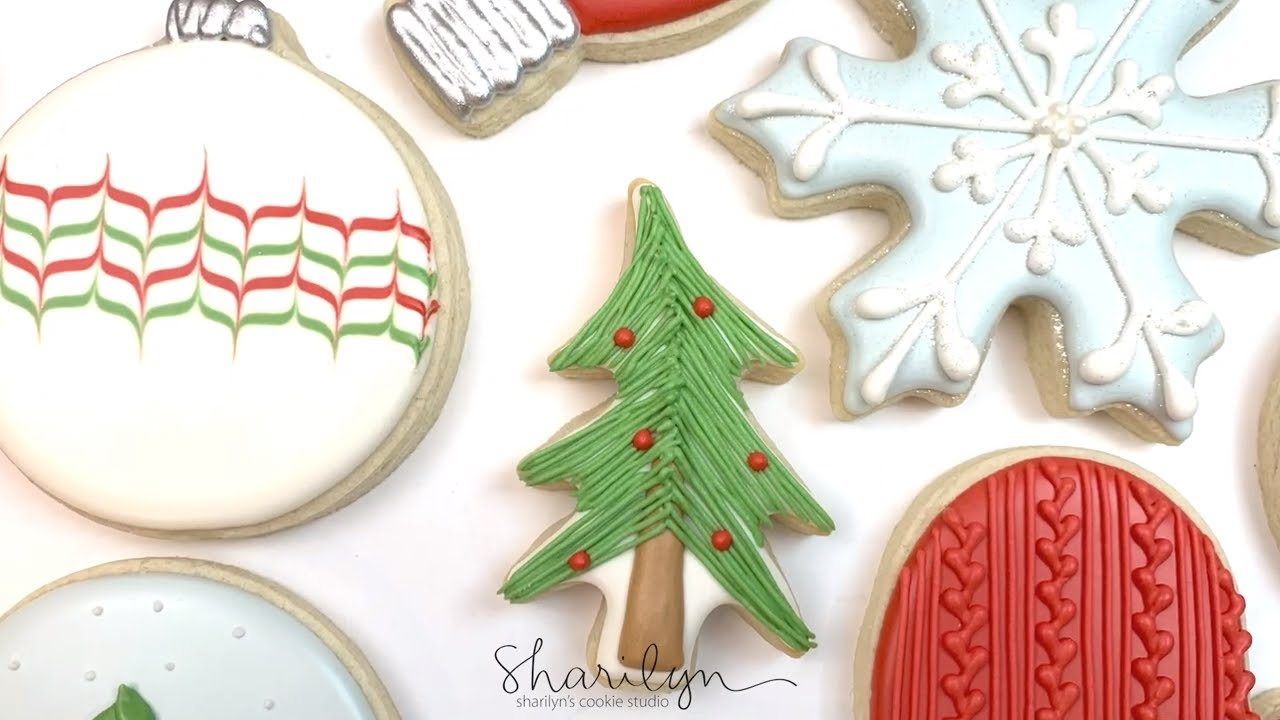 How To Decorate Whimsical Christmas Tree Sugar Cookies! 12 Days of Christmas