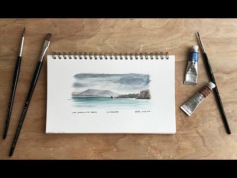 A bike ride to sketch Lake Geneva, Switzerland. Watercolour landscape demonstration / tutorial thumbnail