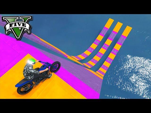 GTA V Online: 3x MEGA RAMPA COM MOTO!!! (MUITO TROLL)