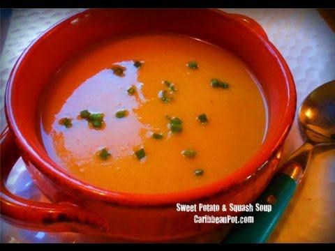 Vegetarian Roasted Sweet Potato And Squash Soup Recipe.
