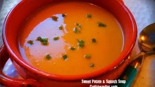 Vegetarian Roasted Sweet Potato And Squash Soup Recipe.