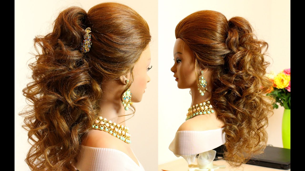 Curly bridal hairstyle for long hair tutorial - YouTube