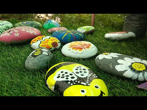 Easy Rock painting## stone art ## how to decor ur garden from colourfull stone🌈🌷🌲🌱🌳🌺
