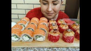 Филадельфия РОЛЛ Запеченные с Крабом   Salmon Sushi Rolls ASMR MUKBANG    eating show   먹방