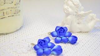 ПОЛИМЕРНАЯ ГЛИНА фимо Серьги  Цветы Мастер класс для начинающих  Flowers lesson for beginners
