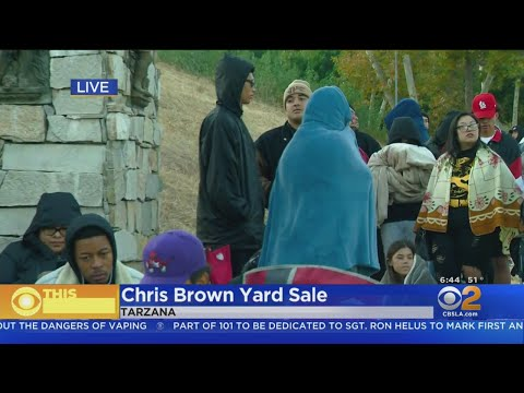 Bargain-Hunters Line Up For Yard Sale At Chris Brown's House In Tarzana