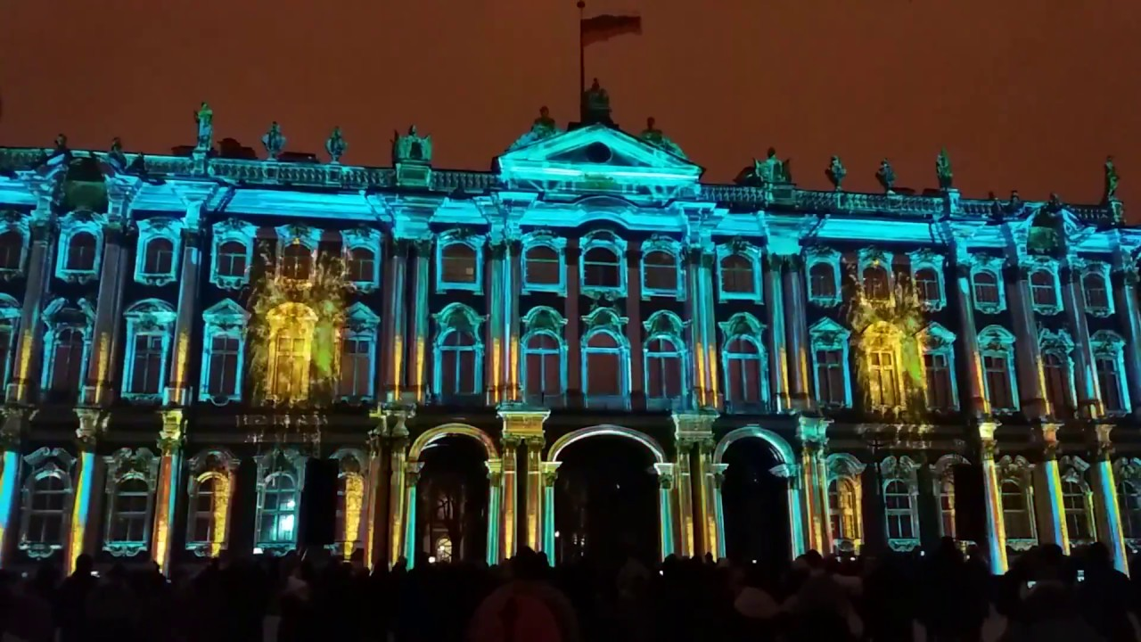 Fantastic Light Show - Hermitage museum day 2016. St. Petersburg, Russia