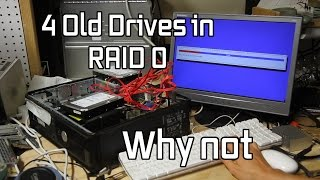 Making a Raid 0 from 4 old hard drives and benchmarking it