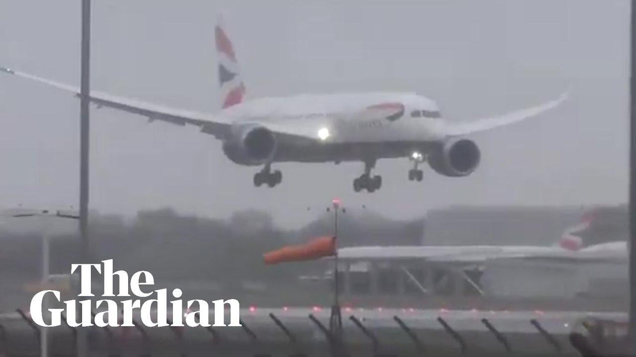Plane struggles to land at Heathrow as Storm Erik hits UK and Ireland –  video