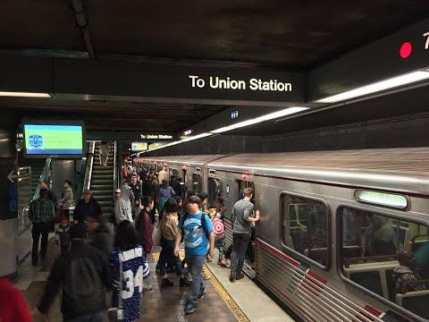 LA Metro Rail HD 60 FPS: Red, Purple, Blue, & Expo Line Trains @ 7th Ave/Metro Center Station