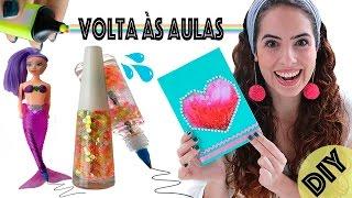 DIYs VOLTA ÀS AULAS: CANETA ESMALTE, CADERNO LÍQUIDO, etc...   Paula Stephânia