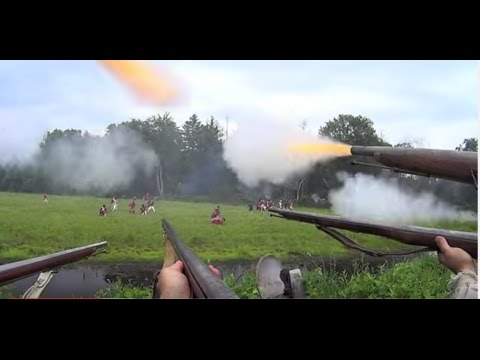 Patriots POV shooting open field battle - American Revolutio