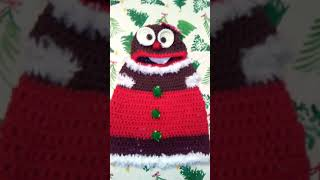 Crochet Gingerbread Christmas cookie baby dress and hat