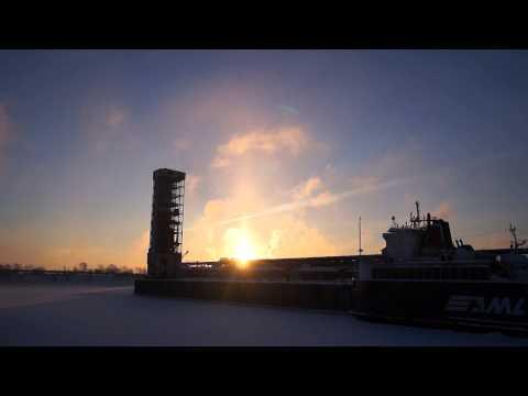 Sun Pillar At Sunrise In Montreal's Old Port Thursday January 22, 2014 00020