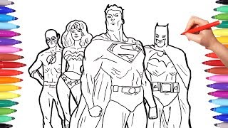 Superheros Coloring Pages | Coloring Superheroes | Batman Superman Flash Justice League