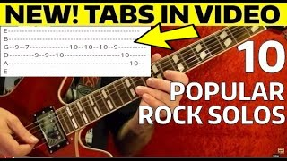 10 EASY Popular Rock Solos - Guitar Lesson WITH TABS!