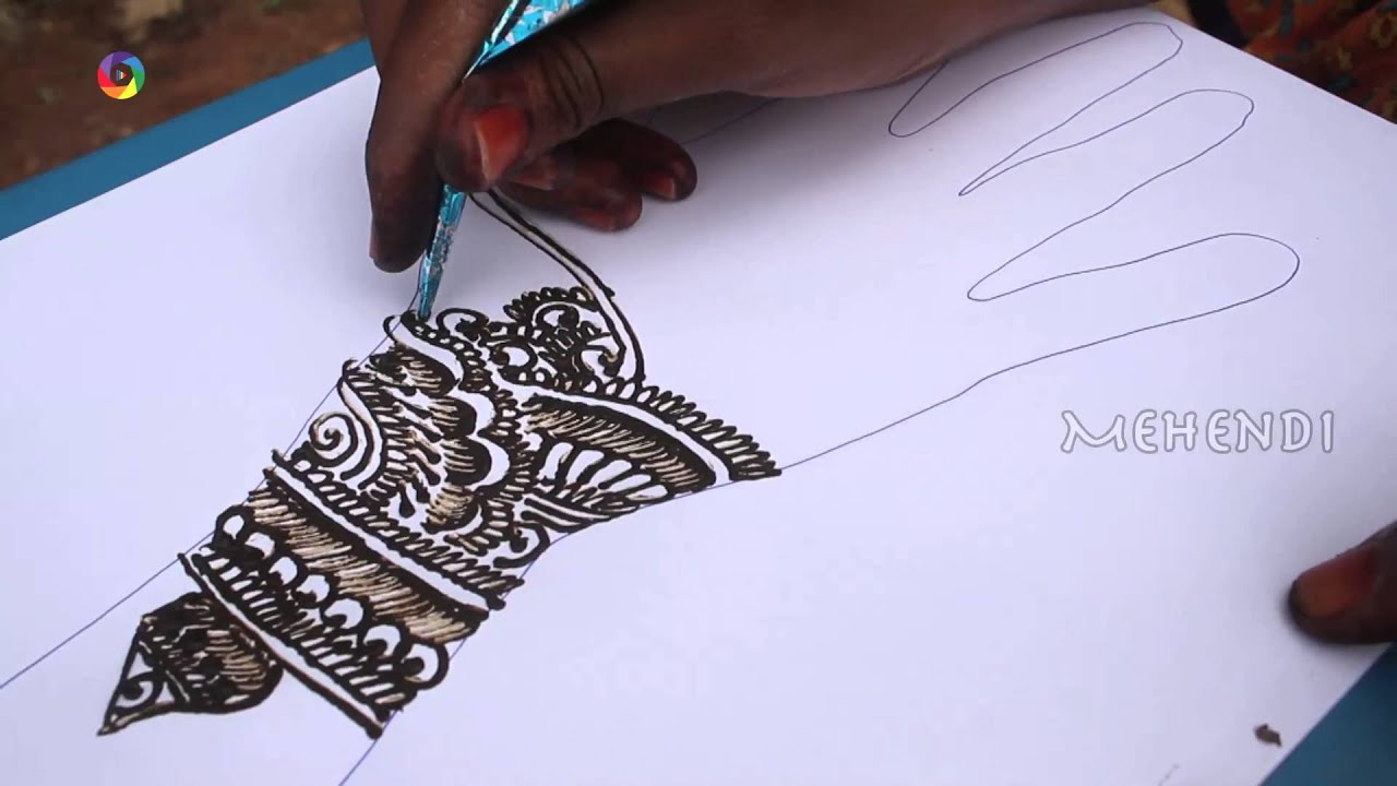 Easy Mehndi Patterns On Paper : How to draw a best indian mehndi full hand on paper art youtube