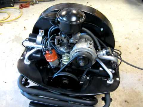 1600 cc vw single port engine rebuild test run - YouTube
