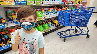 Shopping at Toys R Us for Zack Happy Birthday Party