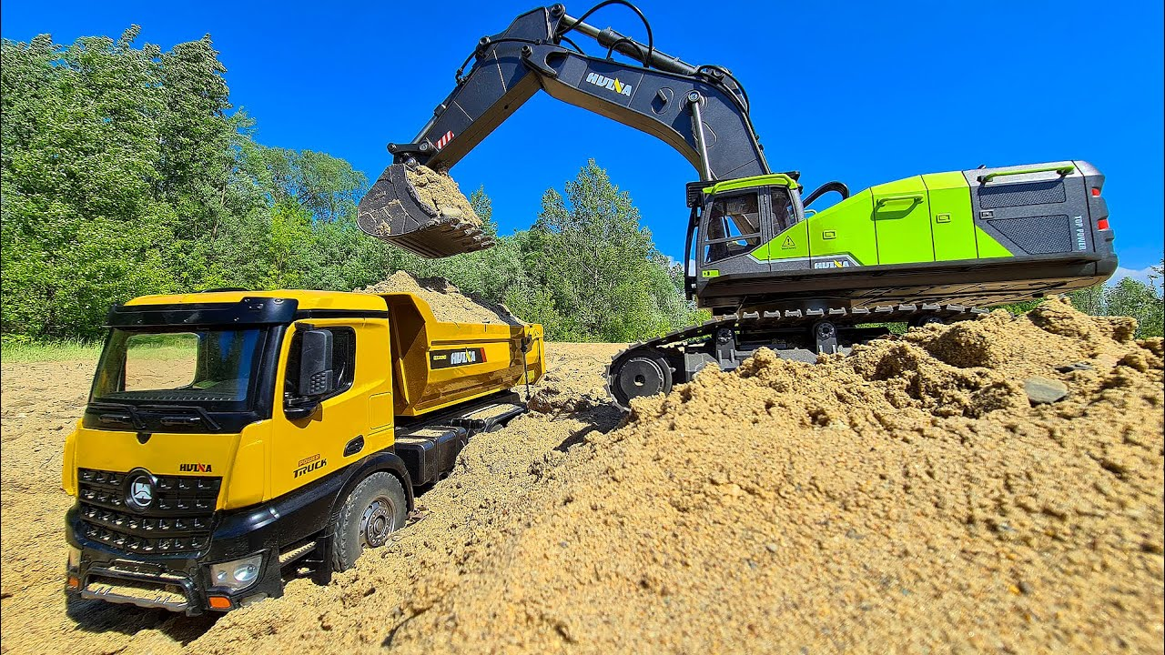 RC Excavator and RC Truck 6x6 - Construction Site Action!!!