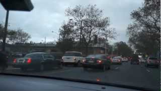A long line of cars waiting for gas in Newark, NJ on 11/2/12 following Hurricane Sandy