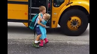 Cute Babies Waiting Big Brother and Sister go Home Back on the School bus Compilation