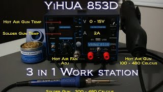 Soldering Work Station 3 in1 YiHUA 853D -  Soldering & Hot Air Gun Demo with Lipo  XT60 connectors