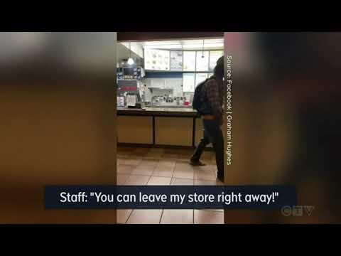 Download Anti-mask bio terrorist urinates on restaurant counter