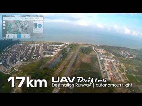 17km Destination Runway mission, UAV drone - Drifter ultralight