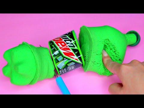 DIY How To Make 'Kinetic Sand Mountain Dew' Learn Colors Slime Foam Clay Icecream キネティックサンドで遊んだよ