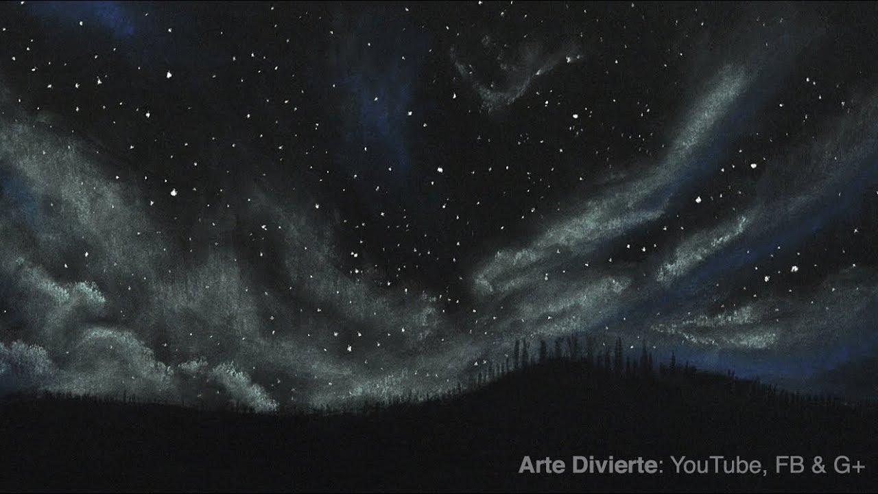 Cómo Dibujar Un Cielo Estrellado Y Nublado Con Pastel Tizas