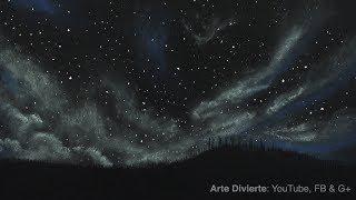 Cómo dibujar un cielo estrellado y nublado con pastel (tizas) - Narrado