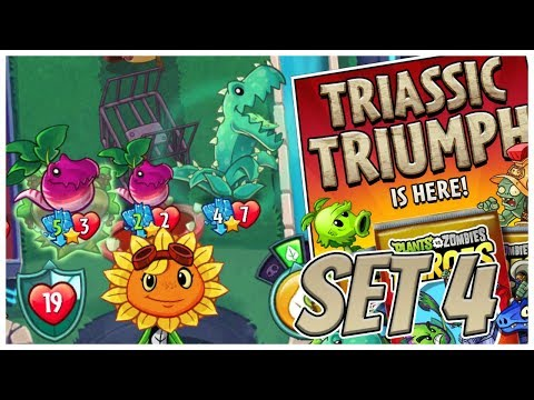 Solar Flare All Triassic Cards Deck - Plants vs Zombies Heroes Gameplay