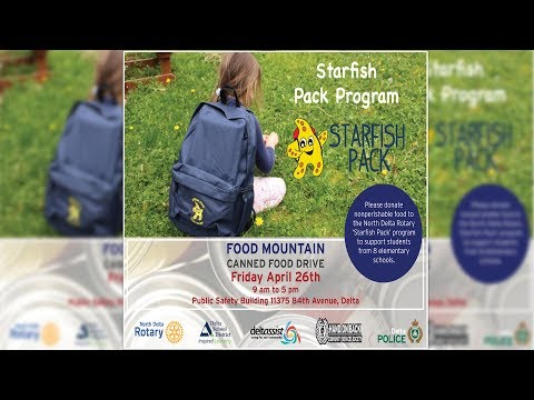 Delta Police Food Mountain Canned Food Drive - Starfish Pack Program