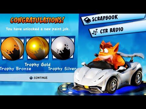 Crash Team Racing Nitro-Fueled - Unlock Trophy Paint Job + Full Scrapbook + CTR Radio