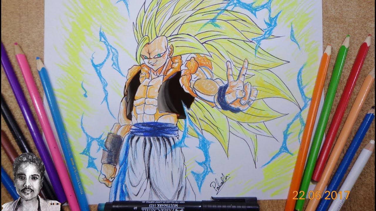 Goku SSJ3 Drawing Super Saiyan 3 With Colour Pencil - YouTube