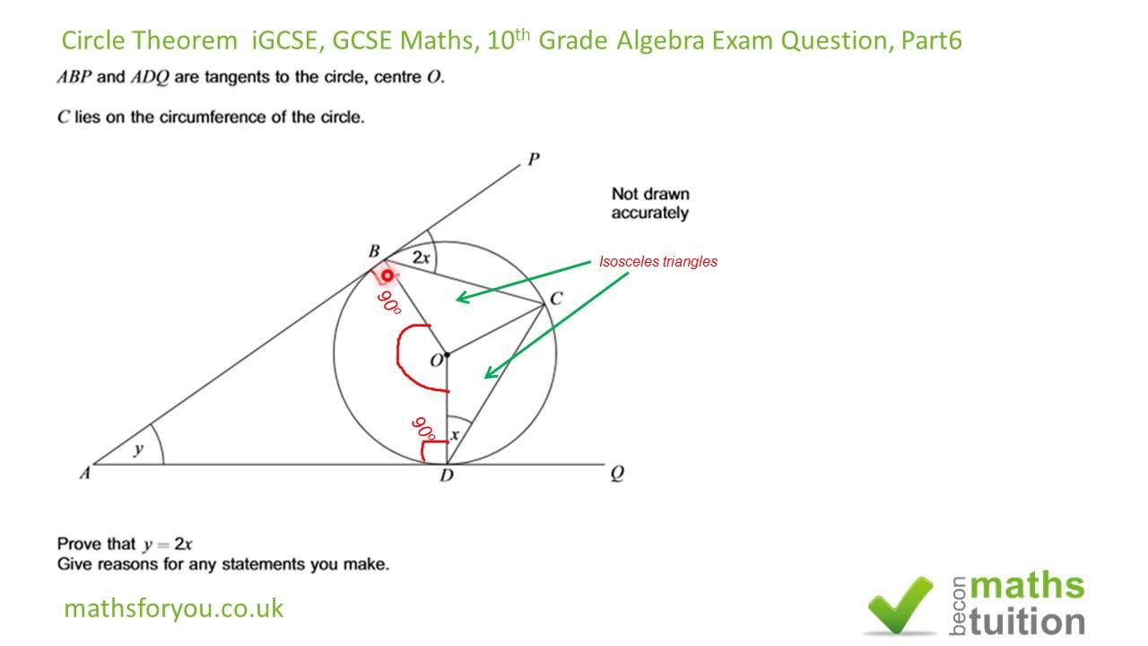 Circle Theorem iGCSE, GCSE Maths, 10th Grade Algebra Exam Question, Part 6 - YouTube