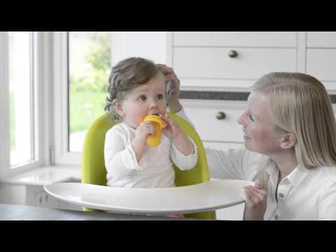 Kidsme Биберон за храна Скуизър 4м+ - Зелен/Жълт #fl86e-4nti4