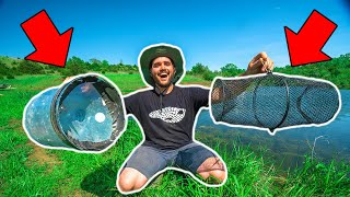 HOMEMADE vs STORE-BOUGHT Minnow Trapping CHALLENGE at My FARM!!