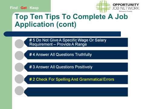 Job Applications -  Top Ten Tips